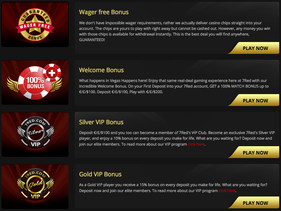 7Red casino bonuses and promotions