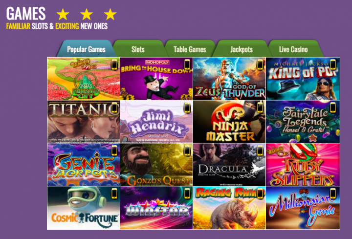 SlotsMagic casino games selection
